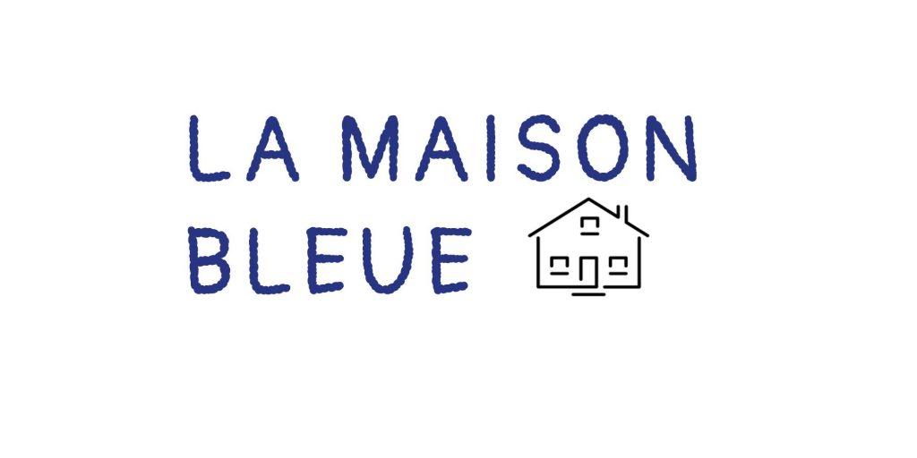 texte La maison bleue écrit en bleu