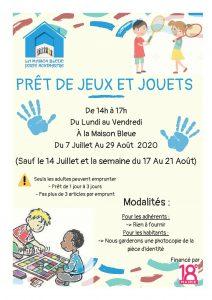 Affiche qui explique que le centre social Maison Bleue de paris prête des jeux sur les vacances en été.